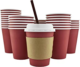 100 Pack - 12 Oz [16 Oz] [4 Colors] Disposable Hot Paper Coffee Cups, Lids, Sleeves, Stirring Straws - Cranberry Red