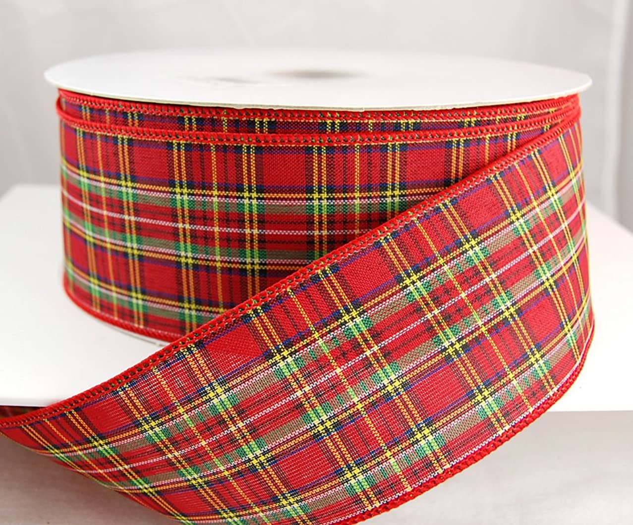 Reliant Ribbon 92300W-001-40K Tradition Plaid Value Wired Edge Ribbon, 2-1/2 Inch X 50 Yards, Multi