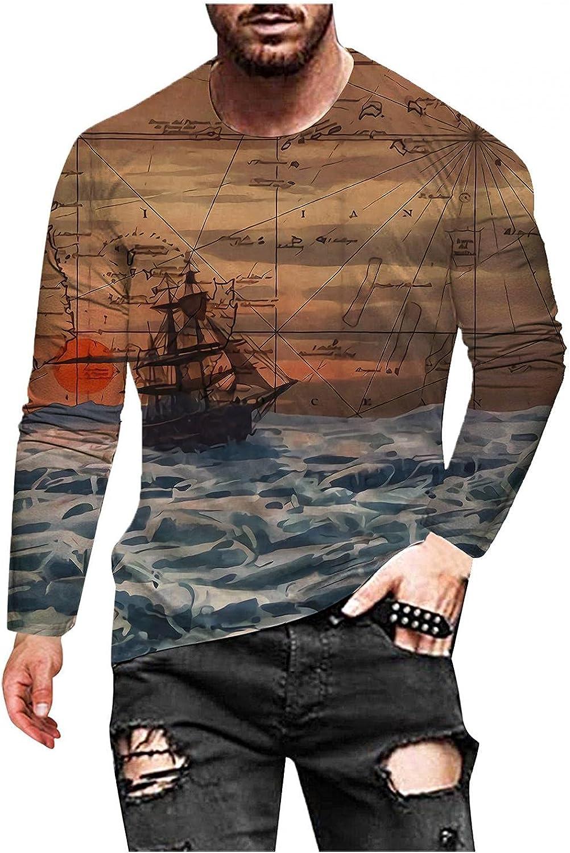 Men's T Shirt Graphic Vintage Long Sleeve Hip Hop 3D Prints Hipster T Shirts Lightweight Workout Running Tees
