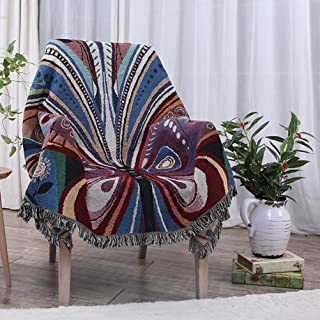 YJBear Butterfly Pattern Double Sided Bohemian Decorative Cotton Woven Throw Blanket with Fringe Tapestry Super Soft Warm Chenille Knitted Sofa Towel Couch Blanket with Tassel 51
