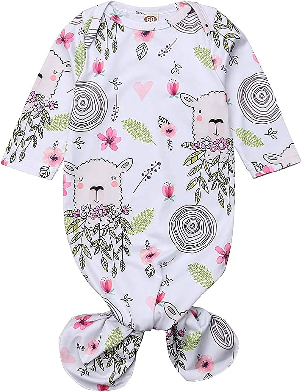 Newborn Baby Girl Sleepwear Nightgown Floral Sleeping Gown Headband Sleeping Bags Coming Home Outfits 0 6Months
