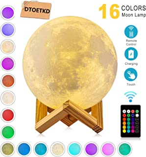 Moon Lamp Night Light,3D Printing 16 Colors Moon Lights with Stand & Remote &..