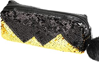 Phogary Glitter Cosmetic Bag Mermaid Spiral Reversible Sequins Portable Double Color Students Pencil Case for Girls Women Handbag Purse Make Up Pouch with Pompon Zip Closure(Black with Gold)