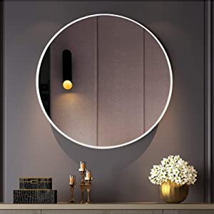BEAUTYPEAK Circle Mirror White 18 Inch Wall Mounted Round Mirror Brushed Metal Frame for Bathroom, Vanity, Living Room, Bedroom, Entryway Wall Decor (White, 18 Inches)