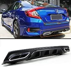 Fits for 2016-2018 Honda Civic 4 door Sedan Black Shark Fin Rear Bumper Diffuser W/Decorative Exhaust Tip