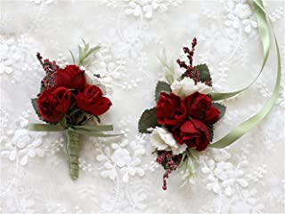 Flonding Rose Wedding Wrist Corsage and Boutonniere Set Party Prom Hand Ribbon Flower Suit Decor (Red)