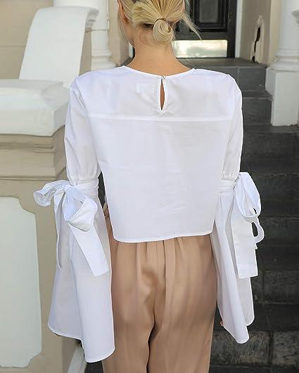 The Drop Camisa blanca con cuello redondo y mangas acampanadas con lazada para mujer por @leoniehanne