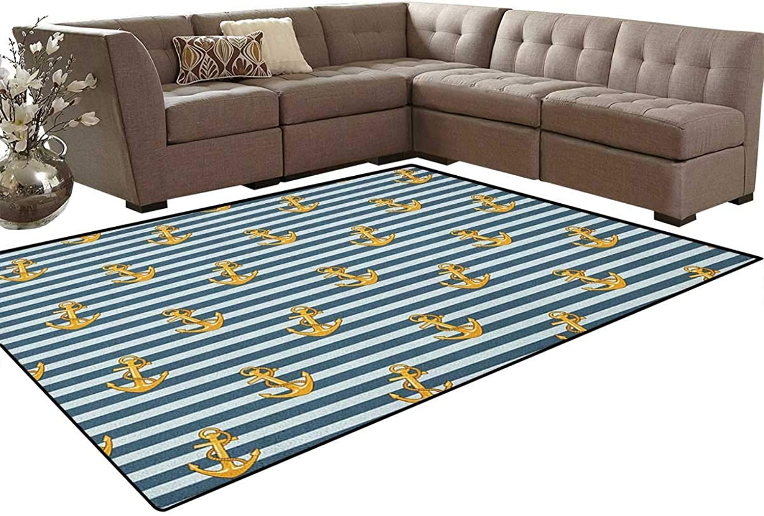 Old Fashion Stylish Nautical Fashion with Anchors Coast Theme Floor Mat Rug Indoor Front Door Kitchen and Living Room Bedroom Mats Rubber Non Slip