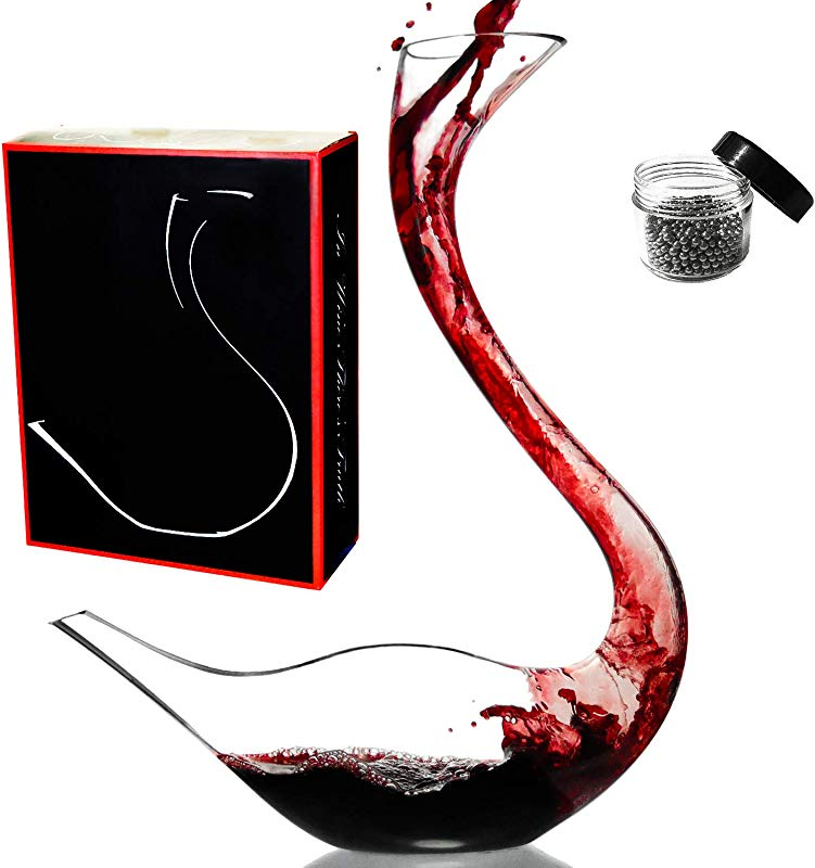 Le Sens Amazing Home Cygnus Wine Decanter 100 Hand Blown Lead Free Crystal Glass Swan Decanter Prepackaged Red Wine Carafe Wine Gift Wine Accessories Gift Box Wrapped And Free Cleaning Beads Set