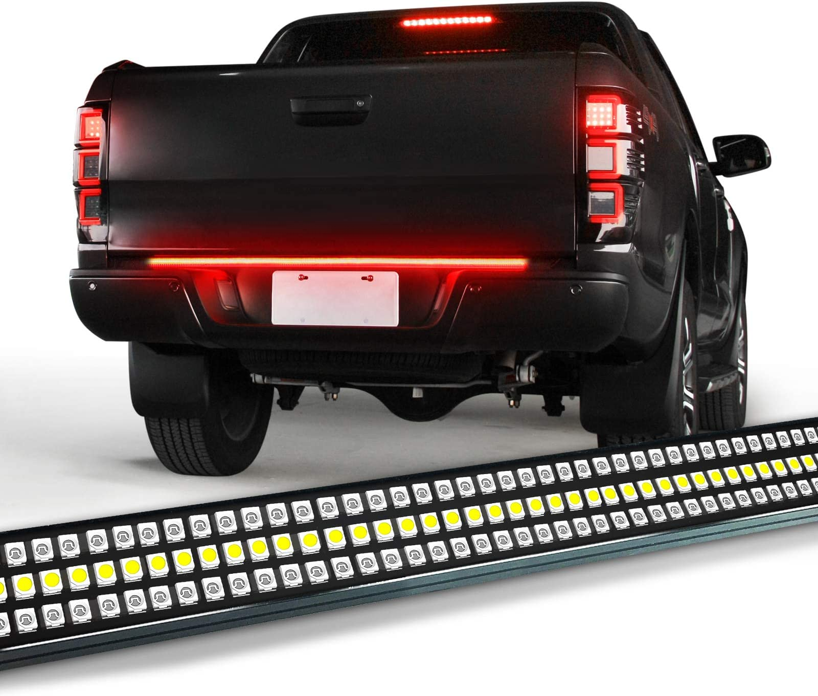 "OPT7 48"" Redline Triple LED Tailgate Light Bar w/Sequential RED Turn Signal - 780 LED Solid Beam - Weatherproof No Drill Install - Full Function Reverse Brake Running"