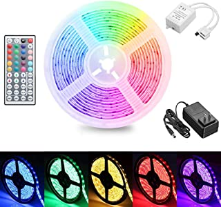 LED Strip Lights with Remote, 16.4 Ft 5050 RGB Flexible Color Changing Full Kit with RF Mini Controller, LED Light Kits with 44-Key Remote Controller & Power Supply for Decoration