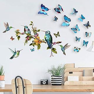 Kolibrie Muurstickers met 12 STKS 3D Kleurrijke Vlinder Muurstickers voor Thuis Slaapkamer, Verwijderbare Aquarel Vogels o...