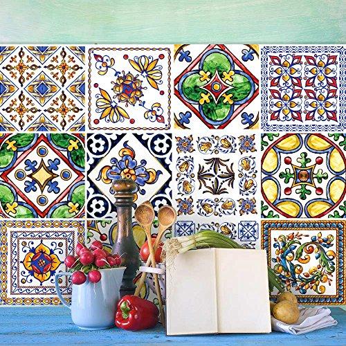 wall-art 25 Fliesenkleber Format 20x20 cm - PS00056 Aufkleber PVC für Fliesen für Bad und Küche Stickers Design - Castelli Keramik