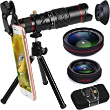 Phone Camera Lens, Bhuato Upgraded 22X Zoom Telephoto Lens + 0.5 Wide-Angle Lens + 15X Macro Lens + Tripod + Carrying Case Compatible iPhone X/8/7/7 Plus/6/6s, Samsung Galaxy S8/S7/S6 Most Smartphones