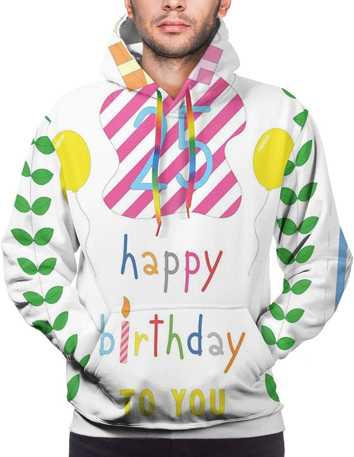 Men's Hoodies Sweatshirts,Happiness Nature Themed Composition Pastel Presents Balloons