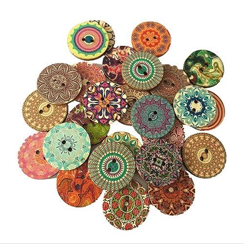 Hangood 50pcs Mixte Multicolore Bouton en Bois Rond Fleur 2 Trous Lot de 25mm