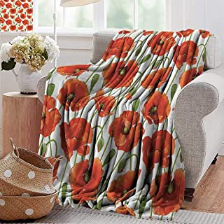 Couch Blanket,Poppy Decor Collection,Poppy Flowers Blooms Buds Water Drops Dew Morning Time Image Pattern,Orange Red Green,Warm & Hypoallergenic Washable Couch/Bed Throws, Microfiber 70