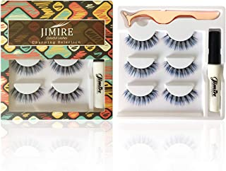JIMIRE Color False Eyelashes Set Pink Blue and Black Gradient False Lashes Pack with Glue and Tweezers