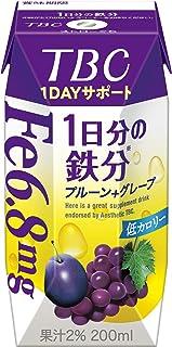 森永 TBC 1DAYサポート 1日分の鉄分 プルーン+グレープ 200ml [ 低カロリー 紙パック ドリンク 飲み物 常温保存 ] ×24本