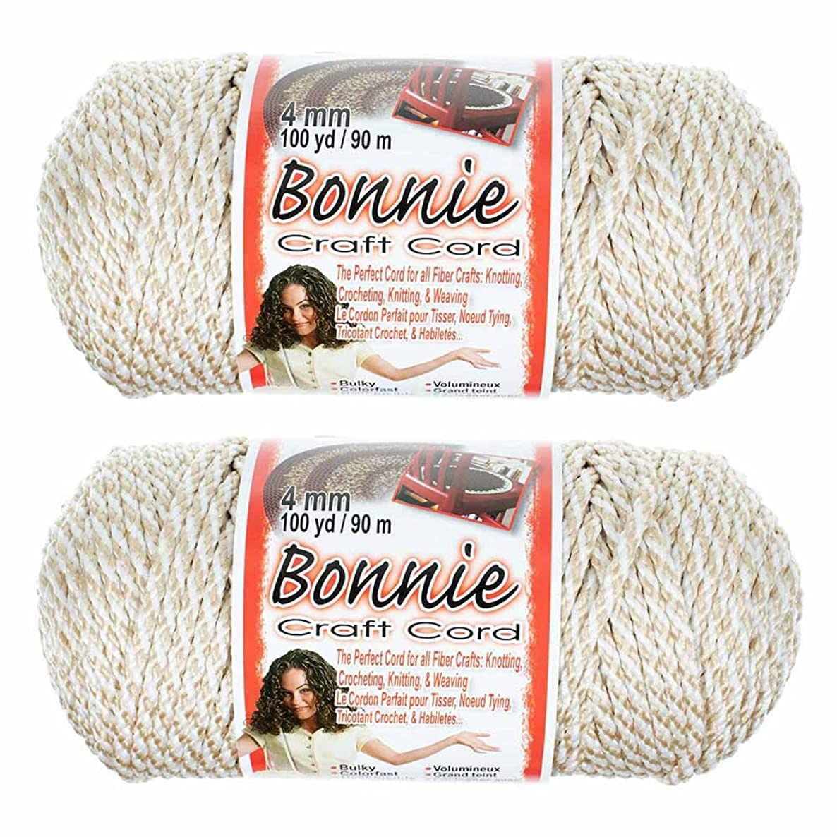 4mm Bonnie Macramé Craft Cord 2 Pack 100-Yard in Various Colors