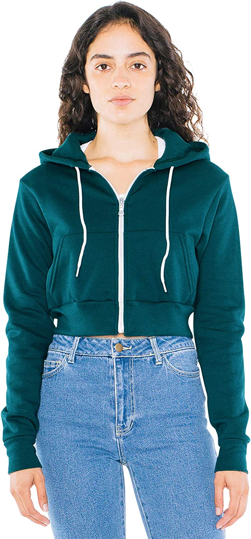 American Apparel Women's Flex Fleece Popular Max 84% OFF Cropped Hoo Zip Long Sleeve