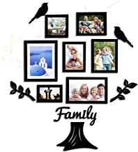 Art street Family Tree Photo Frame Set of 7 Individual Wall Photo Frame with MDF Plaque - 2 Leaf,1 Trunk,1 Family and 2 Birds