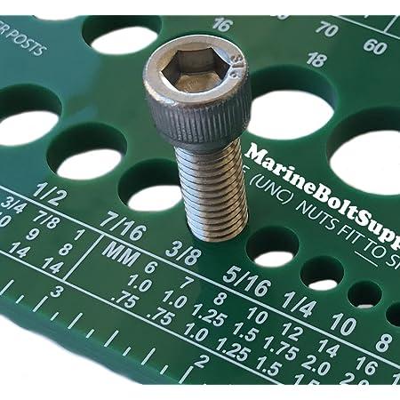 Marine Bolt Supply Nut, Bolt & Screw Gauge (Standard & Metric) (Coarse & Fine) Diameter, Length & Thread Pitch (Green)