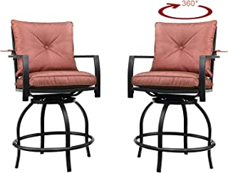 Patio Festival Swivel Bar Stools Patio Height Bistro Chairs Set of 2 PCS Outdoor Conversation Sectional with Armrest,All Weather Steel Frame (2 Chairs-RED)