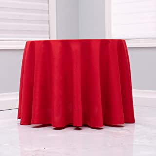 """Kadut Red Tablecloth - 120"""" Inch Round Tablecloths for Circular Table Cover in Red Washable Polyester - Great for Buffet T..."""