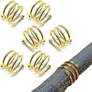 minghaoyuan Ronds de Serviette en Métal, Lot de 6 Anneau Serviette de Table élégant, Napkin Rings pour Mariage Banquet Ann...