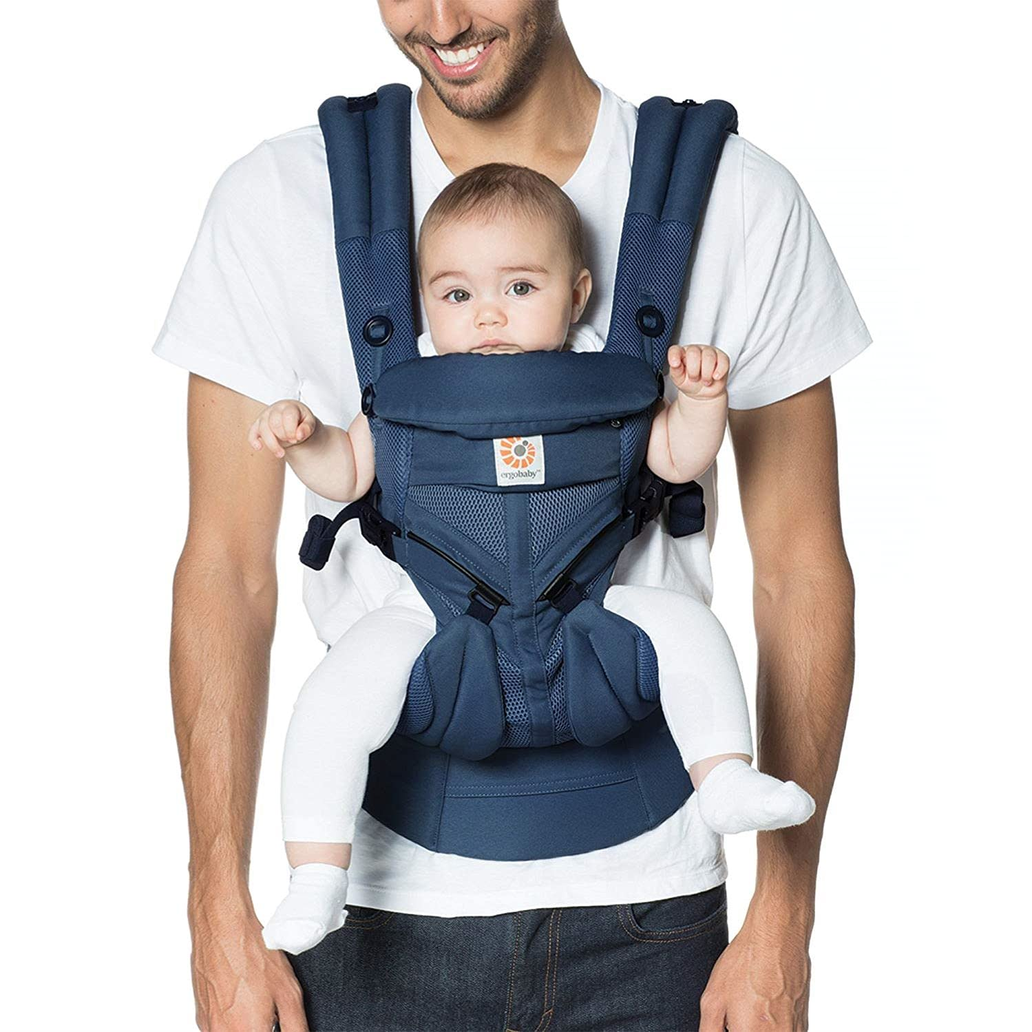 Ergobaby Omni 360 All-Position Baby Carrier for Newborn to Toddler with Lumbar Support & Cool Air Mesh (7-45 Lb), Midnight Blue