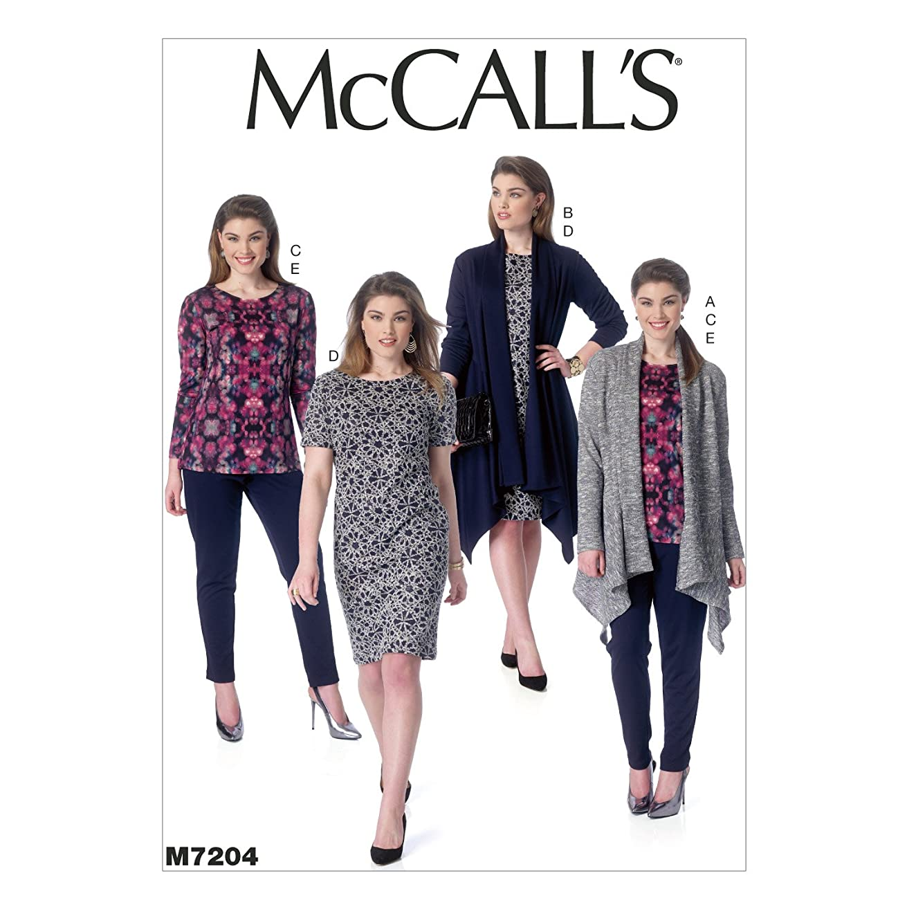 McCall's Patterns M7204 Women's Jacket, Top, Dress and Pants Sewing Template, RR (18W-20W-22W-24W)