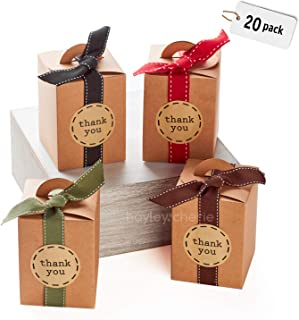 Hayley Cherie - Kraft Gift Treat Boxes with Ribbons and Stickers (Set of 20) - 4.7 x 3.5 x 3.5 inches - Brown 350gsm Card - for Treats, Favors, Cakes, Cookies, Candy, Parties, Showers