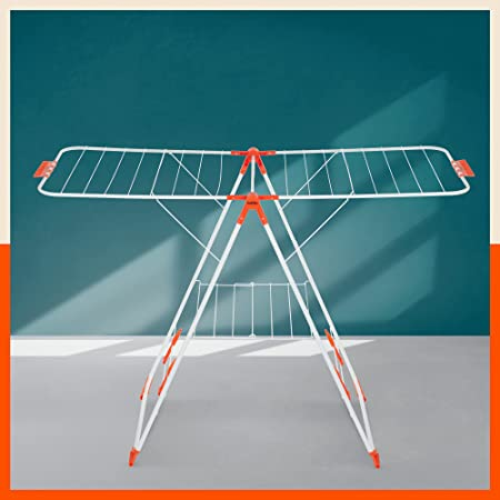 Bathla Mobidry Neo - Foldable Clothes Drying Stand with Weather Resistant Frame (Bright Orange)   Made in India