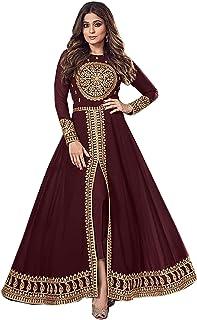 Maroon Embroidered Real Georgette Indian Pakistani Women Wear Long Anarkali Salwar Kameez Muslim A-Line Cut Dress 1168