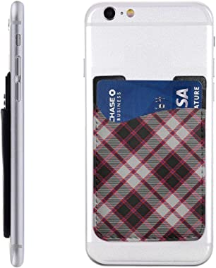 Scots Style Clan Macpherson Tartan Plaid PU Leather Business Id Card Package RFID Credit Card Holder Clip Sleeve Wallet for V