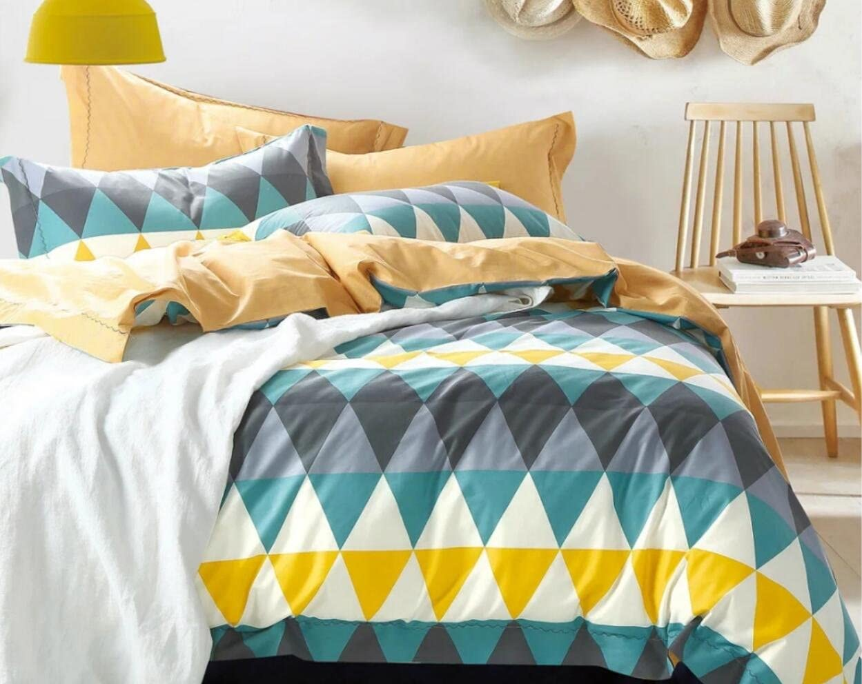 ORACLE DUCKEGG DUVET COVER SET GEOMETRIC BLUE TEAL GREY OFF WHITE TRIANGLE GEO
