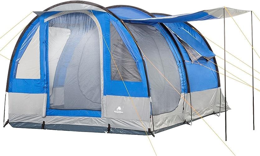 Tente tunnel CampFeuer pour 4personnes, 410x 250x 190cm, bleu gris