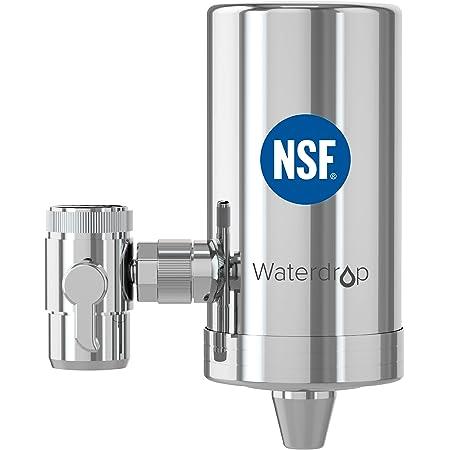 Waterdrop WD-FC-06 NSF Certifié Robinet en Acier Inoxydable, Système de Filtration d'eau à Bloc de Carbone, Filtre à eau du Robinet, Réduit Chlore, Mauvais Goût et Odeur (1 Filtre Inclus)