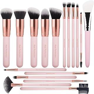 Real Perfection Makeup Brushes 16pcs Makeup Brushes Set with 1 Silicone Face Mask Brush Premium Synthetic Foundation Brush...
