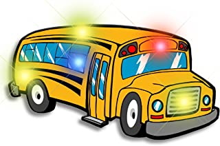 Light Up School Bus Flashing Blinking LED Body Light Lapel Pins (5-Pack)