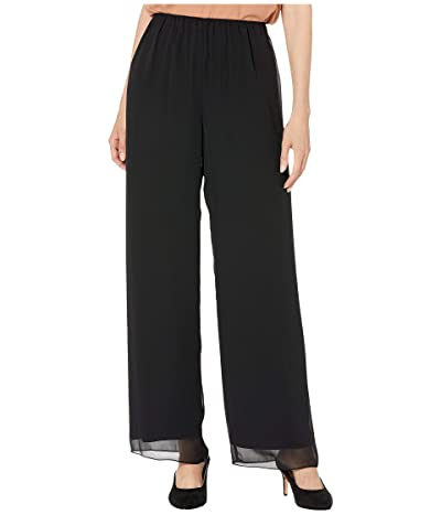 Alex Evenings Silky Chiffon Basic Pants (Black) Women