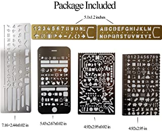 Trycooling 6 In 1 Stainless Steel Portable Drawing Graffiti Web UI/IOS/Number Alphabet/Vintage Brass Alphabet & Number Template Ruler Stencils