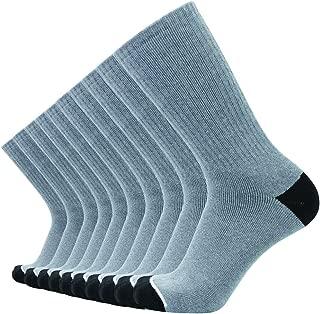 Men's 10 Pack of Cotton Moisture Wicking Heavy Cushion Athletic Work Crew Socks