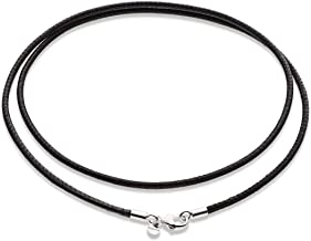 3mm Black Leather NecklaceChokerBracelet  Stitched Leather Cord String with Sterling Silver Clasp for MenWomen