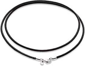 Miabella Genuine Italian 2mm Black Leather Cord Chain Necklace for Men Women with 925 Sterling Silver Clasp 14, 16, 18, 20, 22, 24, 26 Inch Made in Italy