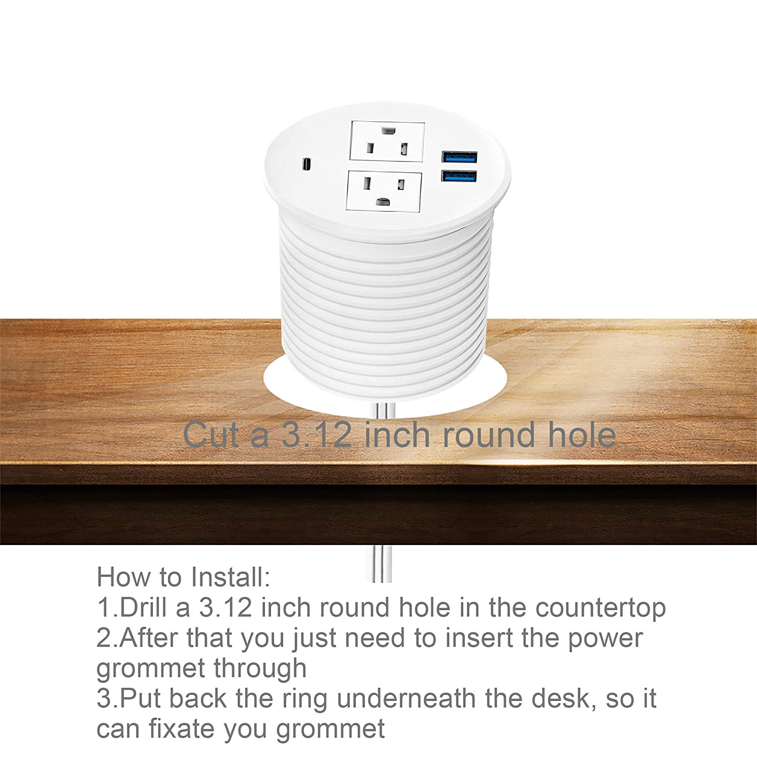 Kungfuking Desktop Power Grommet,Recessed Power Strip with USB Port Desk Outlet Socket with USB C,2 AC Outlets and 3 USB Charging Port 6.56 FT Extension Cord