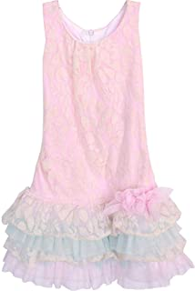 Girls 4-16 Pink/Ivory Floral Lace Tier Drop Waist Social Party Dress