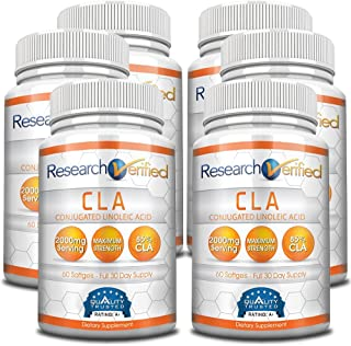 Research Verified CLA Safflower Oil - Natural Weight Loss with 2000mg 85% Pure Conjugated Linoleic Acid Softgel Capsules - 6 Bottles (6 Months Supply)