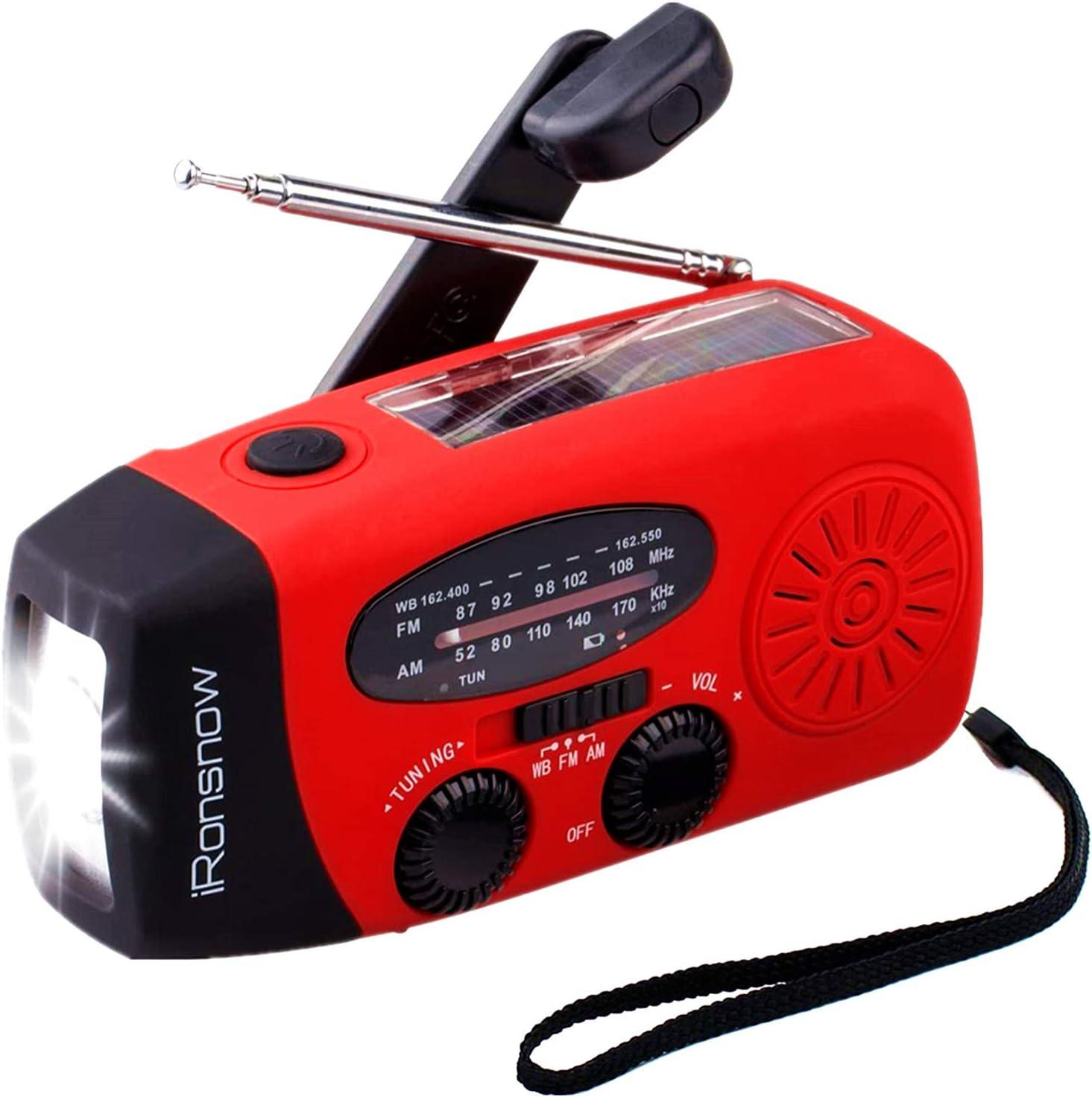 【2021 2000mAh】 iRonsnow IS-088+ Solar Hand Crank Radio AM/FM/NOAA/WB Weather Emergency Radio, Dynamo LED Flashlight 2000mAh Power Bank for iPhone/Android Smart Phone (Red)